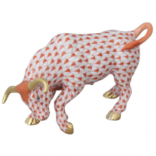 Herend Porcelain Fishnet Figurine of a Bull